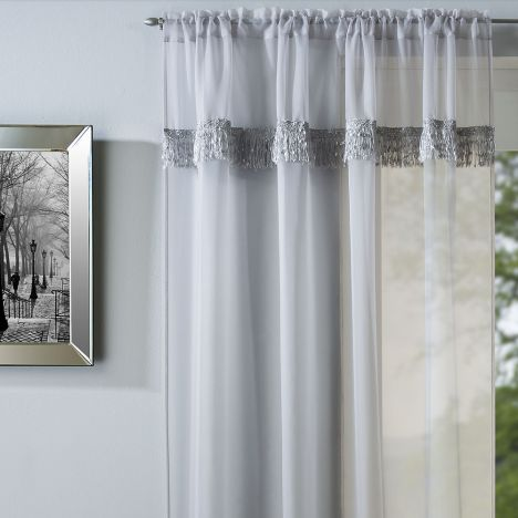 Savannah Slot Top Voile Curtain Panel - Silver Grey