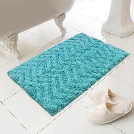 100% Cotton Bath Mat | Turquoise | Rug | Tonys Textiles