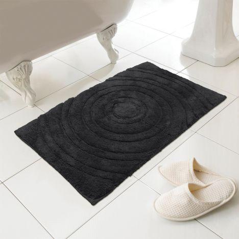 100 Cotton Bath Mat Rug Black Tonys Textiles