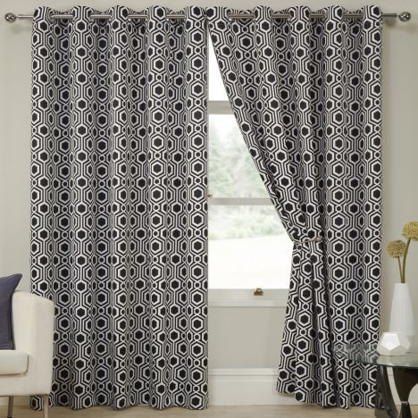 Kampala Geometric Eyelet Thermal Blackout Curtains - Black