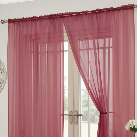 Lucy Slot Top Pair of Voile Curtains - Red