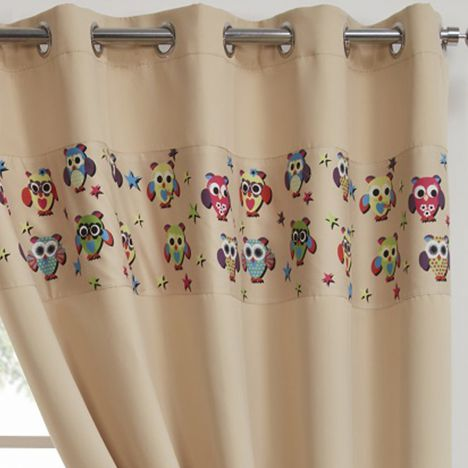 Owl Eyelet Thermal Blackout Curtains - Beige Natural
