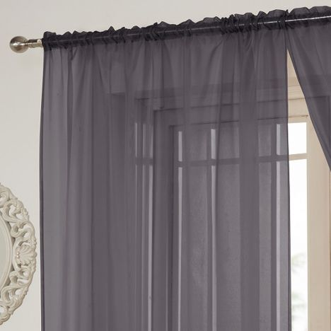 Lucy Slot Top Voile Curtain Panel - Silver Grey