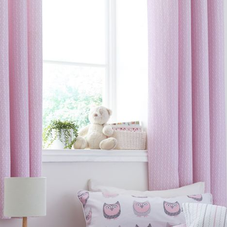 Kids Bianca 100 Cotton Soft Ditsy Print Ring Top Lined Curtains