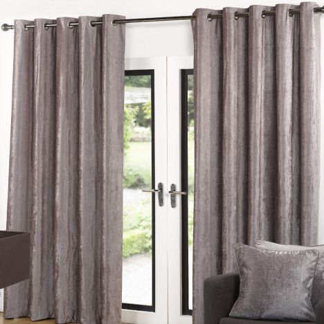 Eyelet Curtains Ring Top Velvet Latte Tonys Textiles