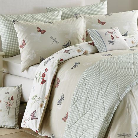 Country Journal Butterfly Reversible Duvet Cover Set - Multi