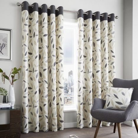 Beechwood Leaf Fully Lined Eyelet Curtains - Charcoal Grey
