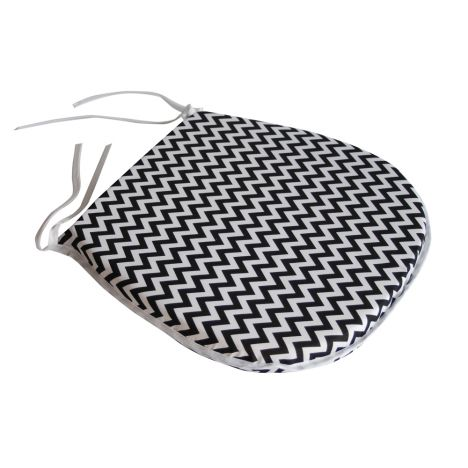 Chevron Tie On Seat Pad - Black