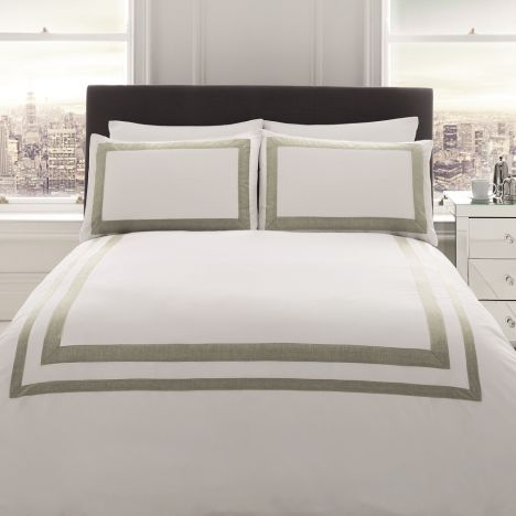 Norada Stripe 100% Cotton Duvet Cover Set - White & Grey