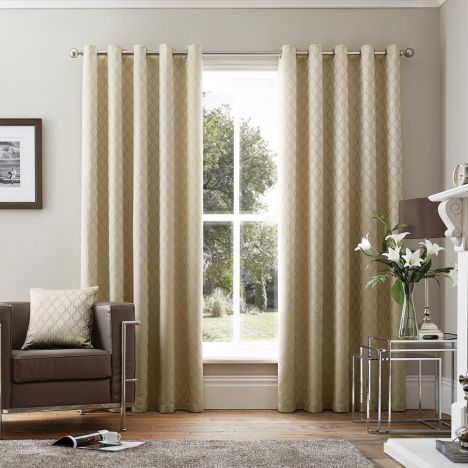 Islington Geometric Luxury Fully Lined Eyelet Curtains - Stone Natural