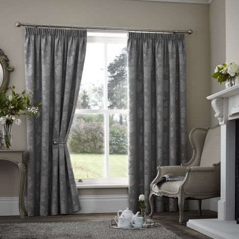 Palmero Floral Jacquard Thermal Blackout Tape Top Curtains - Silver Grey