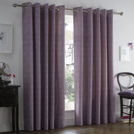Hanworth Floral Eyelet Thermal Lined Curtains - Heather Purple