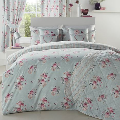Penelope Floral Duck Egg Blue Reversible Duvet