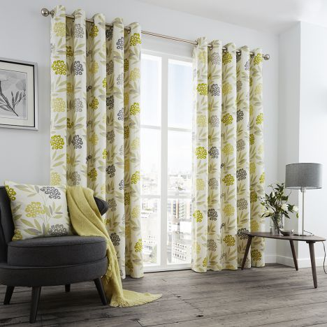 Karsten Floral Print Fully Lined Eyelet Curtains - Lime Green