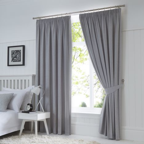 Dijon Thermal Blackout Tape Top Curtains - Silver Grey
