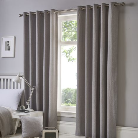 Sorbonne Fully Lined Eyelet Curtains - Silver