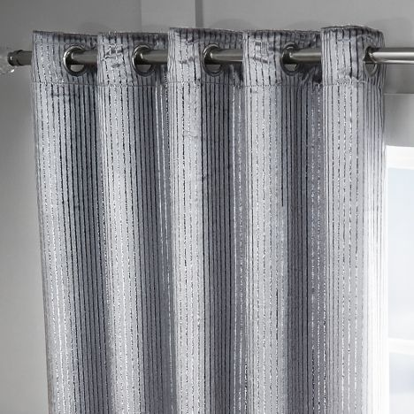 Velvet Sparkle Glitter Stripe Fully Lined Ring Top Curtains   Silver Grey