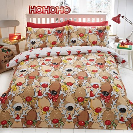 Rudolph Reindeer Christmas Reversible Duvet Cover Set