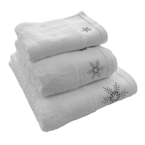 Snowflake 100% Cotton Supersoft Christmas Towel - White Grey