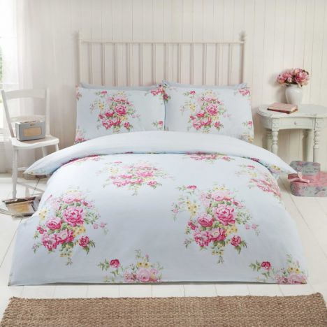 Katie Floral Thermal Flannelette Duvet Cover Set - Light Blue