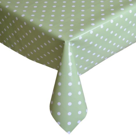 Polkadot Green and White Plastic Tablecloth Wipe Clean Pvc Vinyl