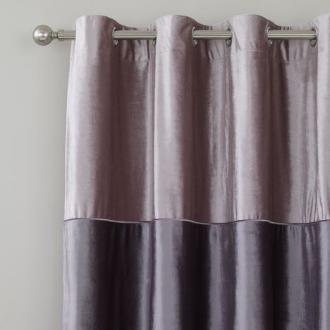 Catherine Lansfield Velvet Bands Fully Lined Ring Top Curtains - Heather Pink