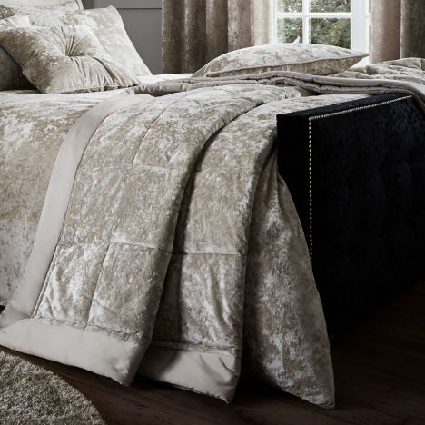 Crushed Velvet Bedspread Natural Cream Tonys Textiles