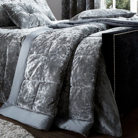 Catherine Lansfield Luxury Crushed Velvet Bedspread - Silver Grey
