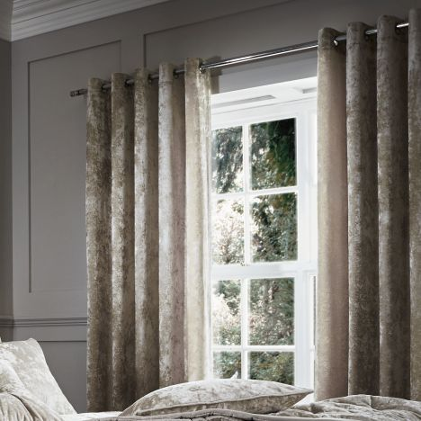 Catherine Lansfield Luxury Crushed Velvet Fully Lined Eyelet Curtains - Natural Cream