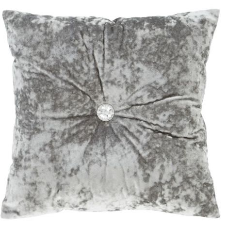 Crushed Velvet Diamante Filled Cushion Silver Grey