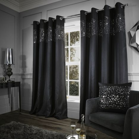 Glitzy Sequin Fully Lined Eyelet Curtains Black