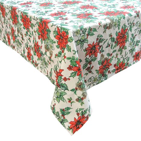 Poinsettia Christmas Tablecloth   Red