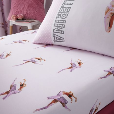 Catherine Lansfield Ballerina Cotton Rich Fitted Sheet - Pink