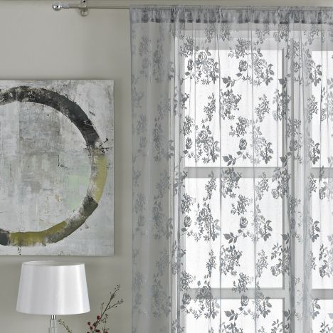Vintage Floral Lace Curtain Panel - Pewter Grey