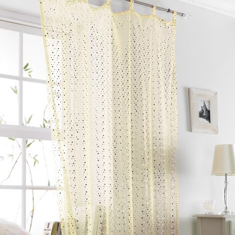Popsicle Glitter Tab Top Voile Curtain Panel Cream