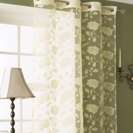 Mia Floral Eyelet Voile Curtain Panel - Cream
