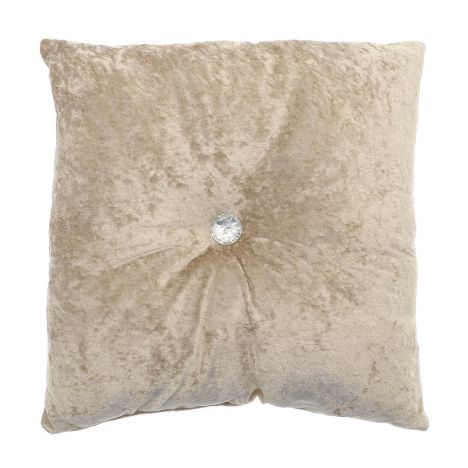 Opulence Diamante Button Filled Cushion - Natural