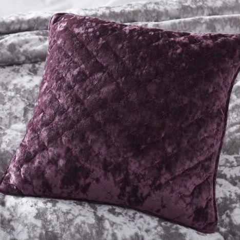 Quilted Velvet Cushion Cover Plum Purple Tonys Textiles