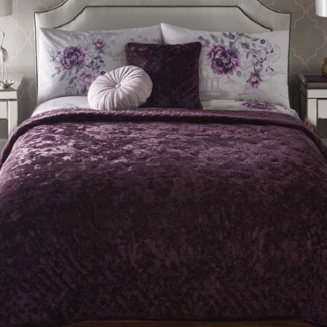 Well known Quilted Velvet   Bedspread   Plum Purple   Tonys Textiles VW05
