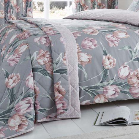 Tulip Floral Bedspread Blush Pink Tonys Textiles