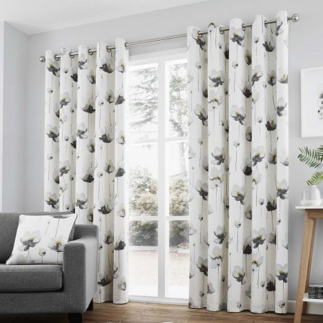 Kiera Floral Fully Lined Eyelet Curtains - Grey