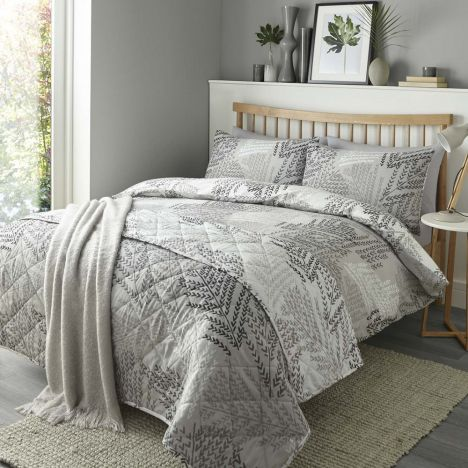 Alena Leaf Print Reversible Duvet Cover Set - Silver Grey
