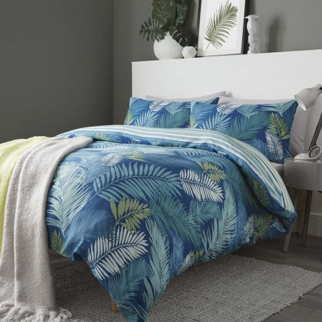 Tropical Leaf Reversible Stripe Duvet Cover Set Teal