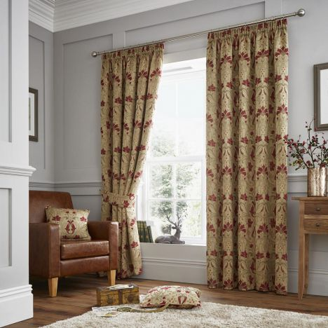 Burford Opulent Jacquard Damask Fully Lined Tape Top Curtains - Red Gold