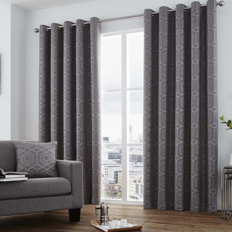 Camberwell Geometric Fully Lined Eyelet Curtains - Graphite
