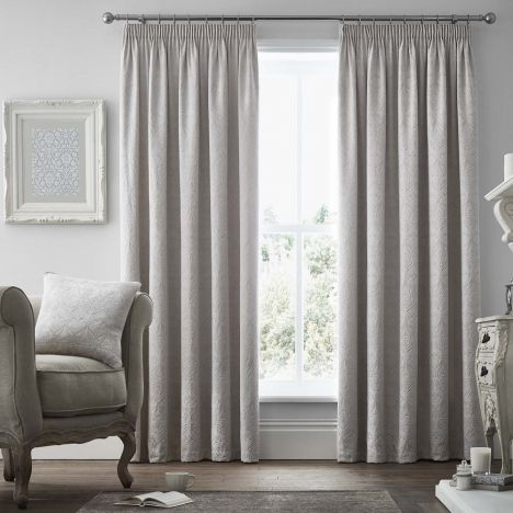 Voysey Damask Fully Lined Tape Top Curtains - Silver