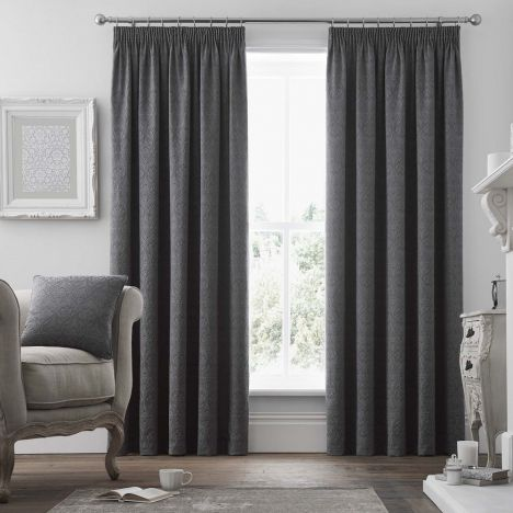 Voysey Damask Fully Lined Tape Top Curtains - Graphite