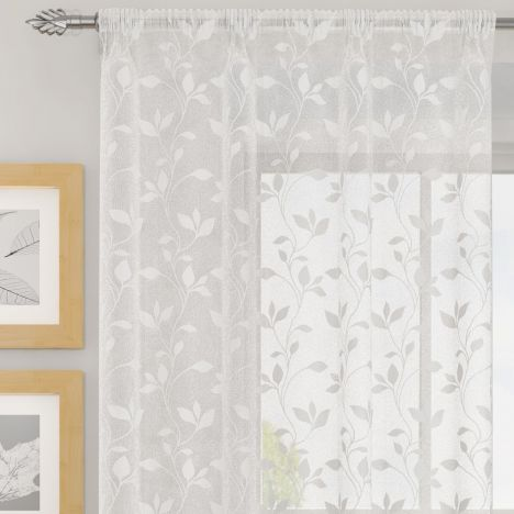 Evie Floral Voile Curtain Panel - White