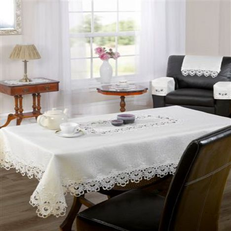Macrame Lace Edged Tablecloth - Cream