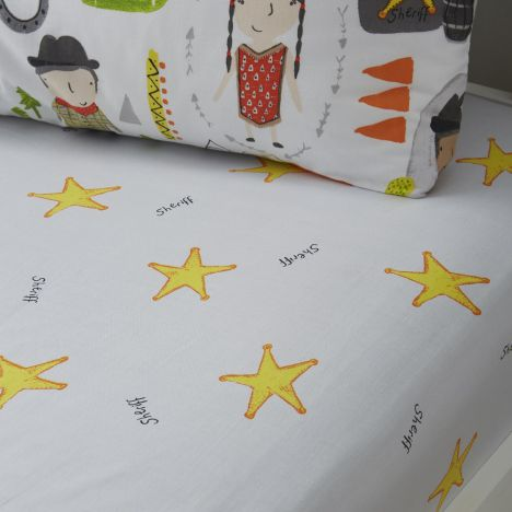 Cowboys and Indians Stars Fitted Sheet - Multi